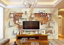Tapete 3D Fototapete Wohnzimmer-Alphabet-Weltkarte