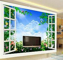 Tapete 3D Fototapete Wohnzimmer Mit Blumenfenster