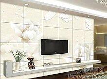 Tapete 3D gelb Blume transparent Marmor Wohnzimmer