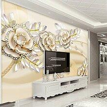 Tapete 3D Goldene Blumen Wohnzimmer Schlafzimmer