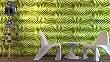 Tapete 3d grün mit Schablone laminiert gelocht Waffelmuster. Kaleidos 19510–10