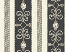Tapete 3d mit Zeichnungen Damast, Diamanten und schwarze Streifen, Taupe und Weiß Black and White 8913–34