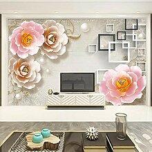 Tapete 3D Relief Ornament Blume Wohnzimmer