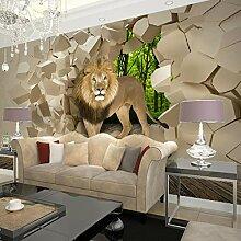 Tapete 3D Stereoscopic Lion Broken Wandgemälde
