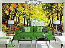 Tapete 3D Tapeten Goldene Herbstlandschaftsmalerei