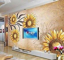 Tapete 3D Tapeten Goldene Sonnenblumenlandschaft