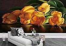 Tapete 3D Tapeten Goldene Tulpenmalereikunst