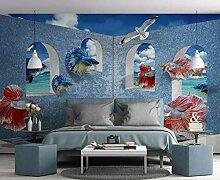 Tapete 3D Wandbild Blauer Fenster Guppy Minimalist