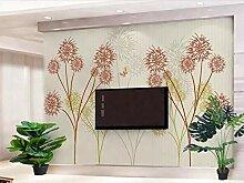 Tapete 3D Wandbild Einfaches Retro Mit Blumen