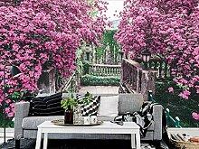 Tapete 3D Wandbild Europäischer Garten Mit Rosa