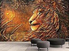 Tapete 3D Wandbild Geprägte Goldene Löwe Vintage