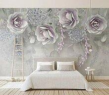 Tapete 3D Wandbild Geprägte Lila Blumen Schön
