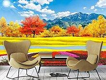 Tapete 3D Wandbild Goldener Herbstfluß Mit