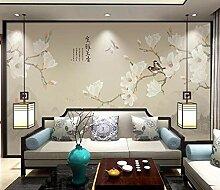 Tapete 3D Wandbild Handgemalter Magnolienvogel Der