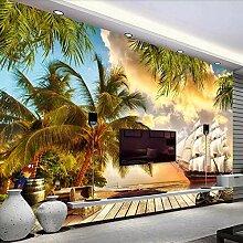 Tapete 3D Wandbild Kokosnussbaumsegelnhimmel