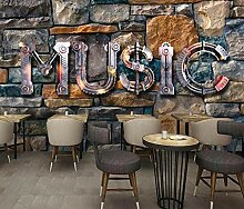 Tapete 3D Wandbild Musik Vintage Steinmauer Bar