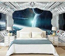 Tapete 3D Wandbild Raumkapsel, Sternenhimmel,