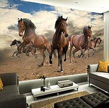 Tapete 3D Wandbild Stereo Galoppierendes Pferd