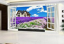 Tapete 3D Wandbild XXL Lavendel-Fenster Fototapete