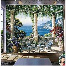 Tapete 3D Wandgemälde Garten Villa Landschaft