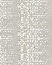Tapete Beige, Silber Grafisch - für Wohnzimmer,