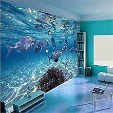 Tapete Benutzerdefinierte Fototapete 3D Wandbild stereoskopischen Unterwasserleben Kinderzimmer TV Hintergrund 200cmX150cm