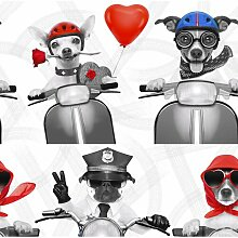 Tapete Biker-Hunde 10,05 m x 53 cm East Urban Home