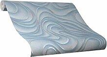 Tapete Blau Welle Geschwungen Linien Ovale Colani