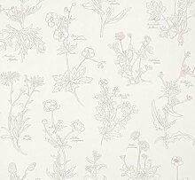 Tapete Blumen Botanischen Darstellung mit Namen spezifische der Pflanzen Position A Bleistift 897401Freja Soft Touch