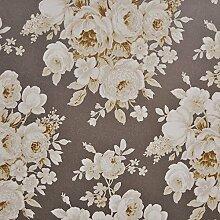 Tapete Blumen mit Blumen elfenbein und Ocker auf Boden Metallic Taupe in TNT Chatillon cha063.