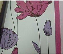 Tapete Blumen mit bunten Blumen pink und violett auf Boden Distel aus Papier duplex Effekt Fake Stoff 13106Zeitgenössische