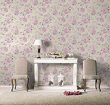 Tapete Blumen Shabby Landhaus Landhausstil Design Blumen mit farbigen Rose altrosa lila pflaume und Taupe aus Vinyl Effekt Stoff waschbar–Florentine 448832