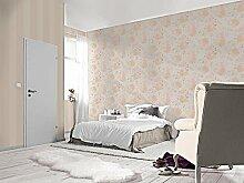 Tapete Blumen Shabby mit Blumen und Rose farbige in Pastelltönen Koralle und Pink aus Vinyl waschbar gewebt Design Modern und zeitgenössisch–Florentine 448870
