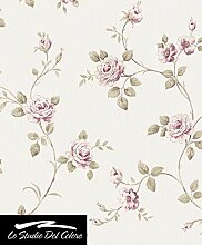 Tapete Blumen Shabby mit Rose bordeaux, Pink, Weiß und grüne Blätter mit Brauntönen. Boden aus A Relief leicht mattglänzend von Farbe Weiß Elfenbein. Eleganz 3044