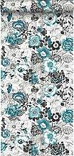 Tapete Blumen Türkis und Schwarz - 138502 - von