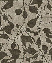 Tapete Boden grau Effekt Stoff und Blumen Schwarz
