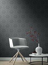 Tapete Damast Moderne Zeitgenössische mit Damast Schwarz mit Klar Dunkle mattglänzend in Vinyl waschbar grau und schwarz 897609Freja Soft Touch
