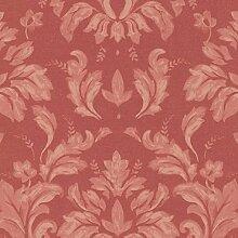 Tapete Damast rot mit Boden Textur Stoff Noblesse 551.01Vinyl waschbar