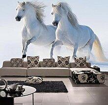 Tapete Des Tieres 3D Weißes Pferd Für Sofa
