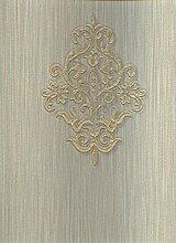 Tapete Design Klassisch mit Dekor von Farbe Gold glänzend auf Boden Effekt Stoff grün mit lievissime Nuancen blau in Textur grün. Ornamenta 95303. hoch waschbar Relief.
