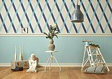 Tapete Design Rauten hellblau, blau und grau auf