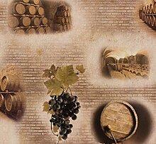 Tapete Design Weinfässer braun beige Tapete Rasch Aqua Relief 4 858600