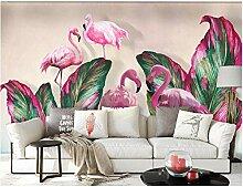 Tapete Diy Tapeten Rosa Flamingo- Und Bananenblatt