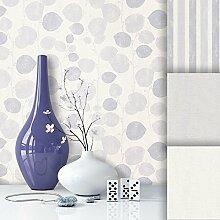 Tapete Edel Vliestapete Creme Grau Blumen , schönes Floral Design und purer Luxus Effekt , moderne 3D Optik für Wohnzimmer, Schlafzimmer, Flur oder Küche inkl. Newroom Tapezier Profibroschüre mit super Tipps!