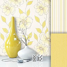 Tapete Edel Vliestapete Gelb Weiß Blumen , schönes Floral Design und purer Luxus Effekt , moderne Natur Optik für Wohnzimmer, Schlafzimmer, Flur oder Küche inkl. Newroom Tapezier Profibroschüre mit super Tipps!
