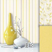 Tapete Edel Vliestapete Gelb Weiß Braun Streifen , schönes Design mit Luxus Effekt , moderne Natur Optik für Wohnzimmer, Schlafzimmer, Flur oder Küche inkl. Newroom Tapezier Profibroschüre mit super Tipps!