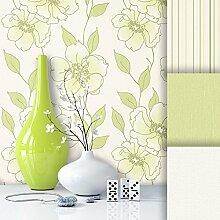 Tapete Edel Vliestapete Grün Weiß Blumen , schönes Floral Design und purer Luxus Effekt , moderne Natur Optik für Wohnzimmer, Schlafzimmer, Flur oder Küche inkl. Newroom Tapezier Profibroschüre mit super Tipps!