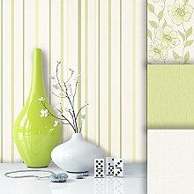 Tapete Edel Vliestapete Grün Weiß Streifen , schönes Design mit Luxus Effekt , moderne Natur Optik für Wohnzimmer, Schlafzimmer, Flur oder Küche inkl. Newroom Tapezier Profibroschüre mit super Tipps!