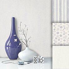 Tapete Edel Vliestapete Uni Grau , schönes Floral Design und purer Luxus Effekt , moderne 3D Optik für Wohnzimmer, Schlafzimmer, Flur oder Küche inkl. Newroom Tapezier Profibroschüre mit super Tipps!