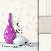 Tapete Edel Vliestapete Weiß Beige Blumen , schönes Floral Design und purer Luxus Effekt , moderne Natur Optik für Wohnzimmer, Schlafzimmer, Flur oder Küche inkl. Newroom Tapezier Profibroschüre mit super Tipps!